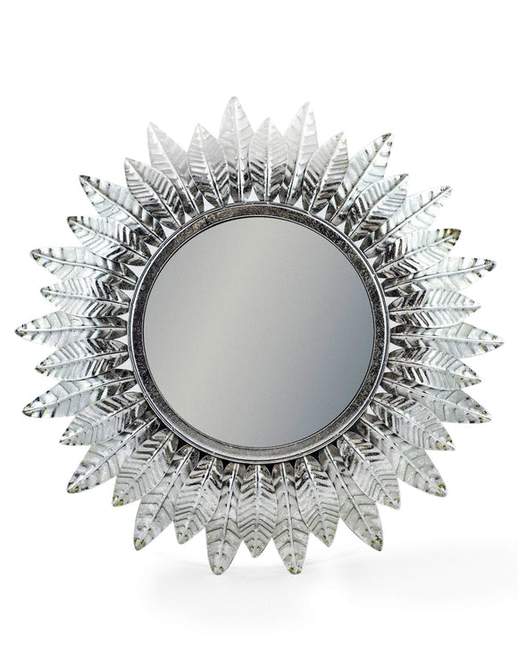 Vintage Style Antiqued Silver Leaf Sunburst Convex Fisheye Mirror 42 cm Diameter