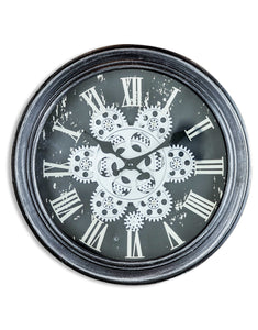 Antiqued Black and Silver Moving Gears Clock 34 cm x 9 cm Steampunk Style