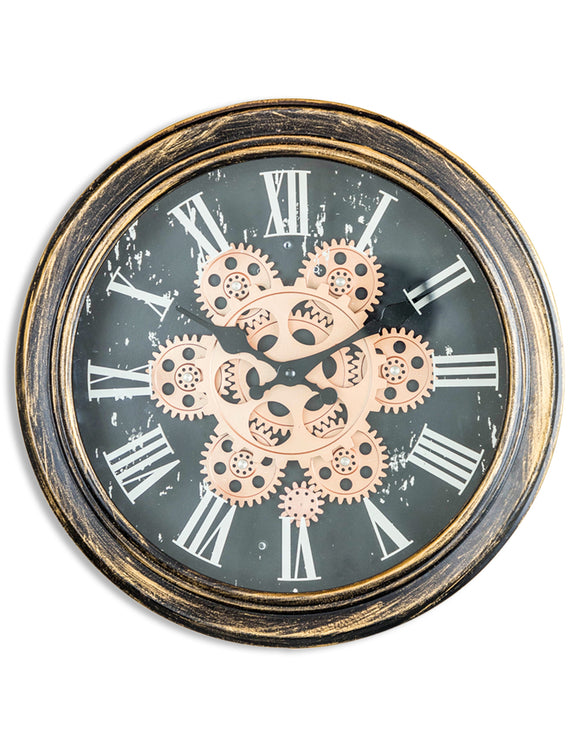 Antiqued Black Gold / Bronze Moving Gears Clock 34 cm x 9 cm Steampunk Style
