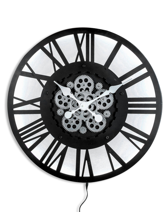 Industrial Style Black Metal Back Lit Moving Gears Cogs Wall Clock 60 cm Diameter