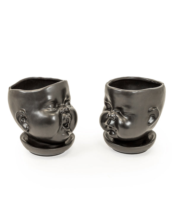 Set of 2 Black Ceramic Baby Face Plant Pots / Vases