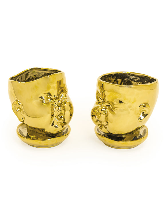 Set of 2 Gold Ceramic Baby Face Plant Pots / Vases