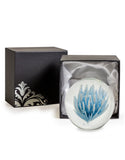 Hand Blown Blue & White Flower Glass Paperweight with Gift Box 9 cm High x 10 cm Diameter