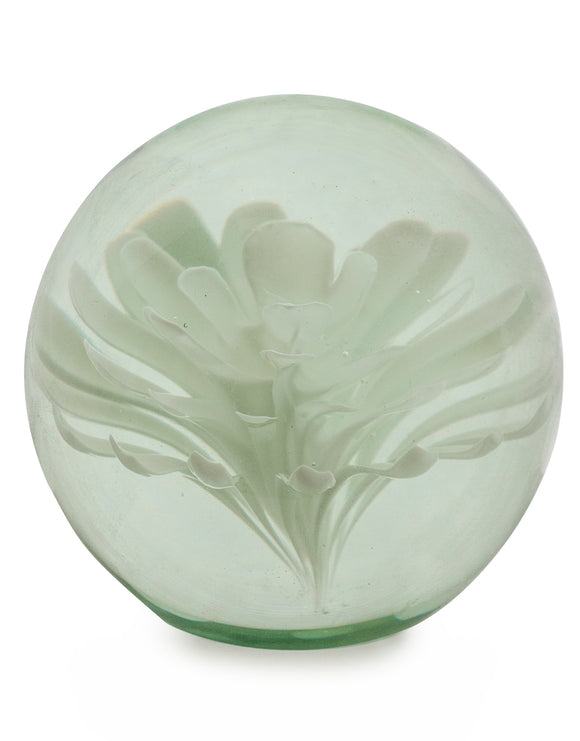 Hand Blown White Flower Glass Paperweight with Gift Box 9 cm High x 10 cm Diameter