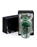 Hand Blown Fern Green Jellyfish Glass Paperweight with Gift Box 13.5 cm High New