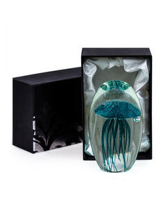 Hand Blown Blue Jellyfish Glass Paperweight with Gift Box 13.5 cm High New