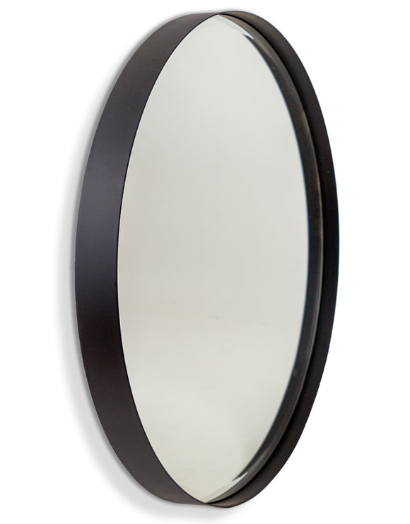 Round Matt Black Steel Wall Mirror 75 cm Diameter x 5 cm Deep