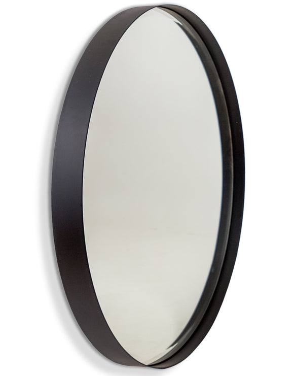 Large Round Matt Black Steel Wall Mirror 90 cm Diameter x 5 cm Deep