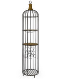 Black Metal Bird Cage Jail Bar Drinks Wine Storage Unit 187.5 cm High