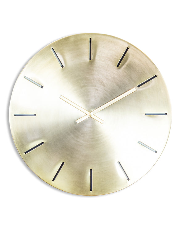 Large Contemporary Brushed Brass Wall Clock 61 cm Diameter