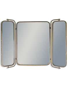 Large Antiqued Grey Bronze Metal Frame Three Fold Wall Mirror 124.5 cm Wide