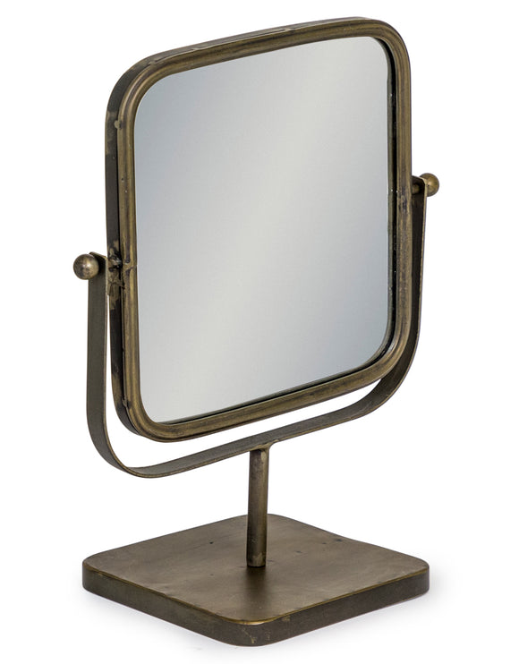 Square Vanity Table Mirror on Grey Bronze Stand Adjustable Tilt 45.5 cm High