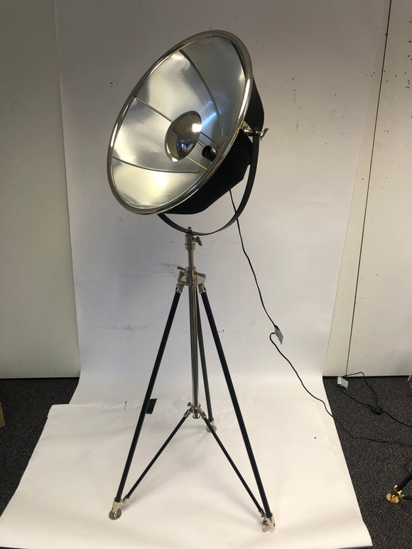 Large Black and Nickel Tripod Floor Lamp 195 cm High