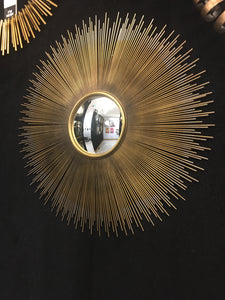Large Antiqued Gold Round Sunburst Convex Fisheye Wall Mirror 90 cm Diameter