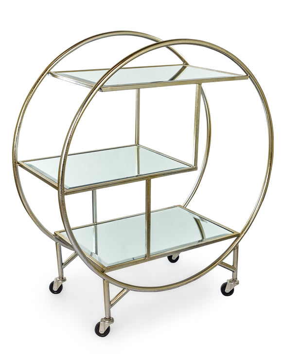 Champagne Silver Leaf Round Metal Drinks Trolley With Three Mirror Shelves
