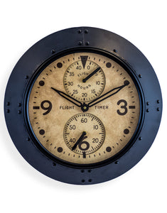 Antiqued Black Framed Flight Hours Aviation Wall Clock