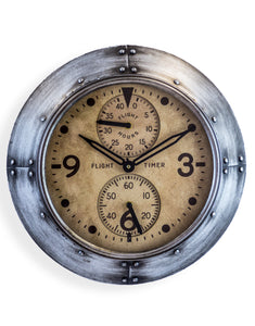 Antiqued Silver Framed Flight Hours Aviation Wall Clock