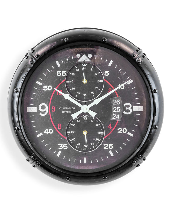 Antiqued Black Framed Instrument Aviation Wall Clock