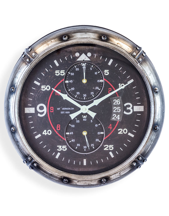Antiqued Silver Framed Instrument Aviation Wall Clock