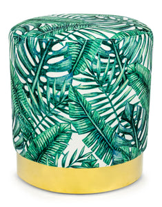 Tropical Green Palm Velvet Round Stool Footstool With Gold Base 46 x 42 cm