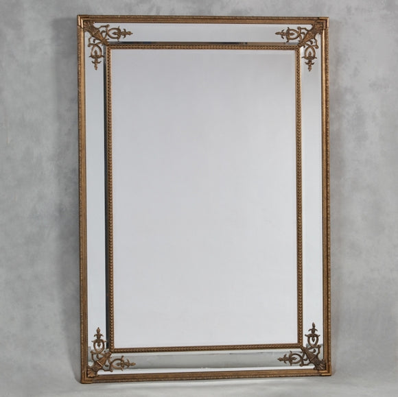 Extra Large Antiqued Gold Detailed Corner French Style Wall Mirror NEW