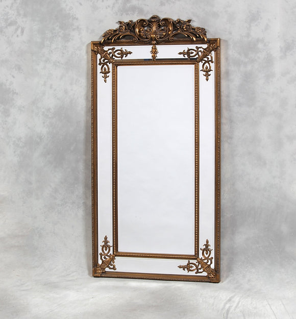 Tall Antique Gold Corner Detail French Style Mirror With Crest -183 x 91 cm New