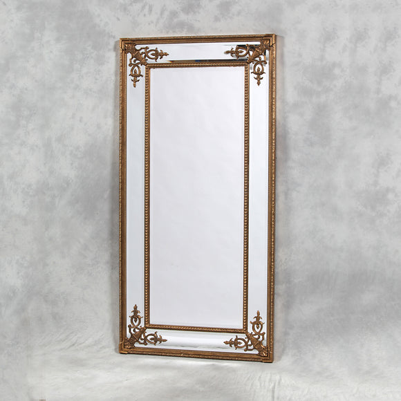 Elegant Antiqued Gold Detailed Corner French Style Mirror