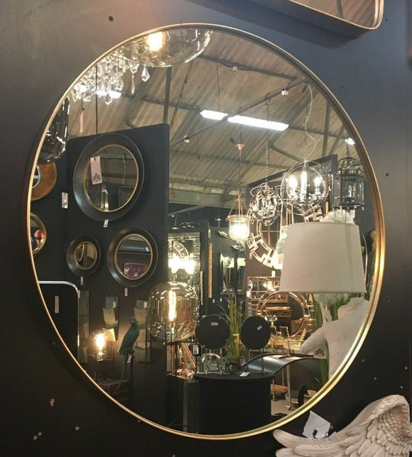 Round Brushed Gold Wall Mirror 70.7 cm Diameter x 4 cm Deep