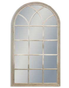 Large Antiqued French Grey Arch Window Style Wall Mirror 140 cm High