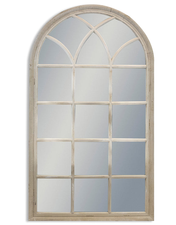 Large Antiqued French Grey Arch Window Style Wall Mirror 140 cm High - Due March