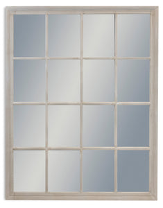 Large Antiqued French Grey Window Style Wall Mirror 130 cm x 100 cm