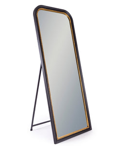 Vintage Style Antiqued Black & Gold Beaded Frame Wall / Freestanding Mirror 163 x 64 cm