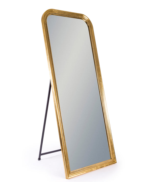 Vintage Style Antiqued Gold Beaded Frame Wall / Freestanding Mirror 163 x 64 cm