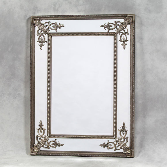 Elegant Antiqued Silver Detailed Corner French Style Wall Mirror 120 x 88 cm