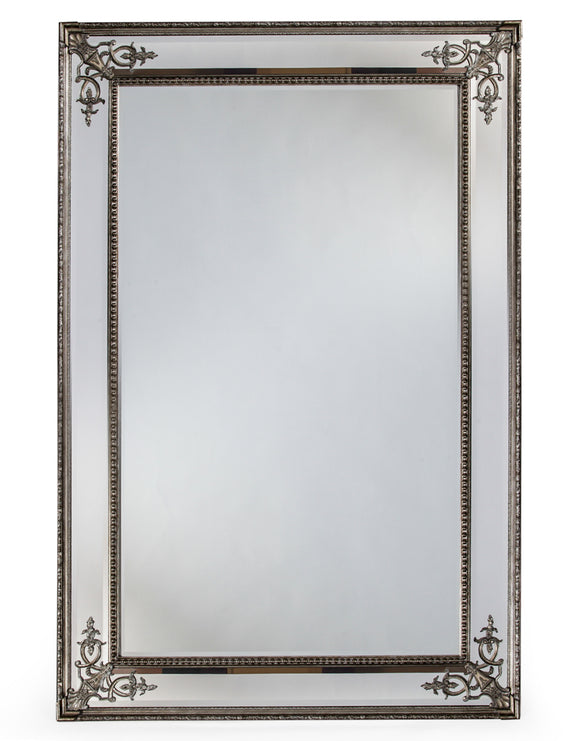 Extra Large Antiqued Silver Detailed Corner French Style Wall Mirror