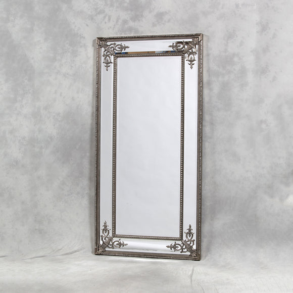 Elegant Antiqued Silver Detailed Corner French Style Mirror - NEW