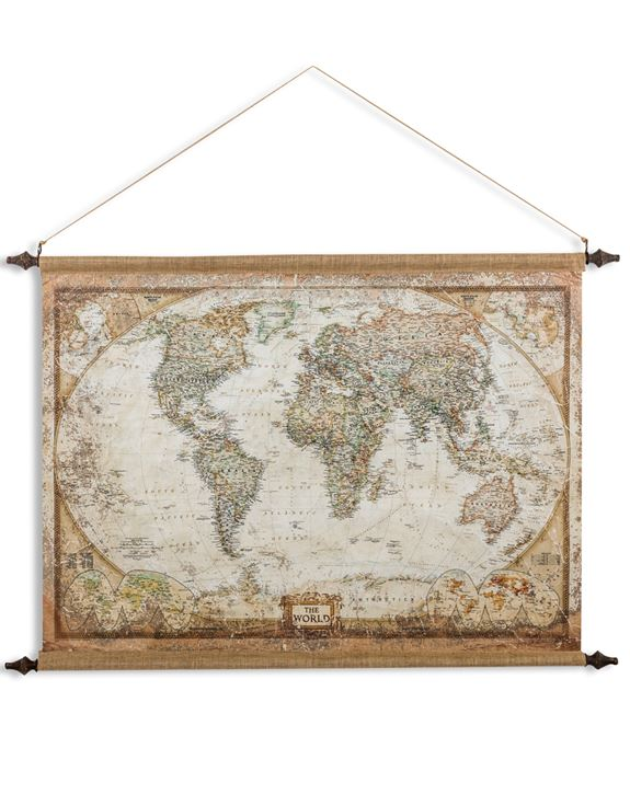 Large Antiqued Canvas Wall Hanging - World Map 88 cm High x 128 cm Wide - Due January 2021