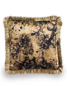 Boho Floral Velvet Cushion Champagne Gold With Fringe Detail 45 cm Square