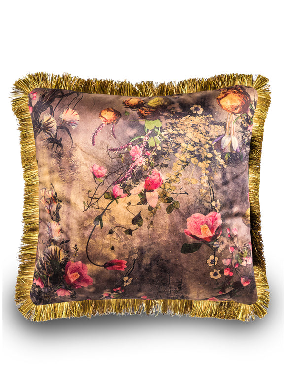 Boho Floral Velvet Cushion With Gold Fringe Detail 45 cm Square