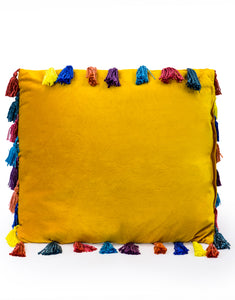 Mustard Yellow Large Square Velvet Cushion With Multi-coloured Tassels 50 cm Sq