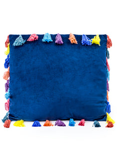 Blue Large Square Velvet Cushion With Multi-coloured Tassels 50 cm Sq