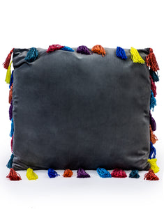 Slate Grey Large Square Velvet Cushion With Multi-coloured Tassels 50 cm Sq