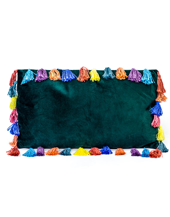 Fern Green Rectangular Velvet Cushion With Multi-Coloured Tassels 35 x 60 cm