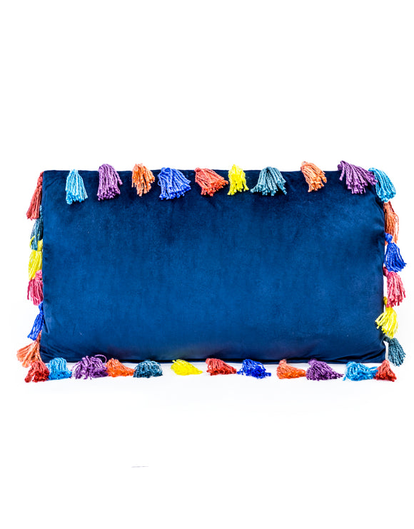 Blue Rectangular Velvet Cushion With Multi-Coloured Tassels 35 x 60 cm