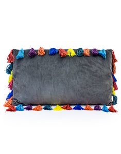 Slate Grey Rectangular Velvet Cushion With Multi-Coloured Tassels 35 x 60 cm