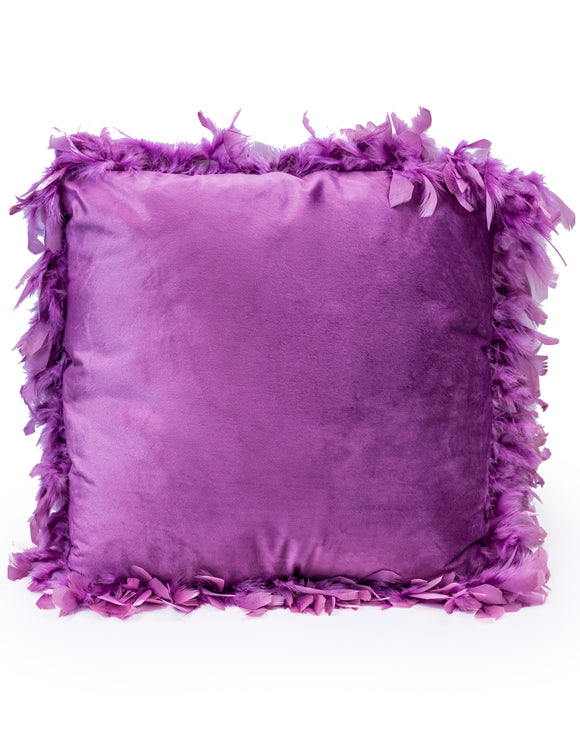Purple Luxe Square Velvet Cushion With Feather Edging 45 cm