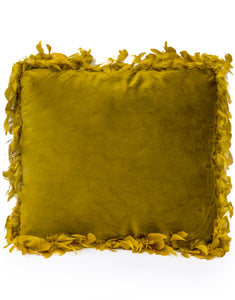 Mustard Yellow Luxe Square Velvet Cushion With Feather Edging 45 cm