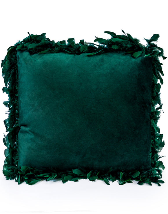 Dark Green Luxe Square Velvet Cushion With Feather Edging 45 cm