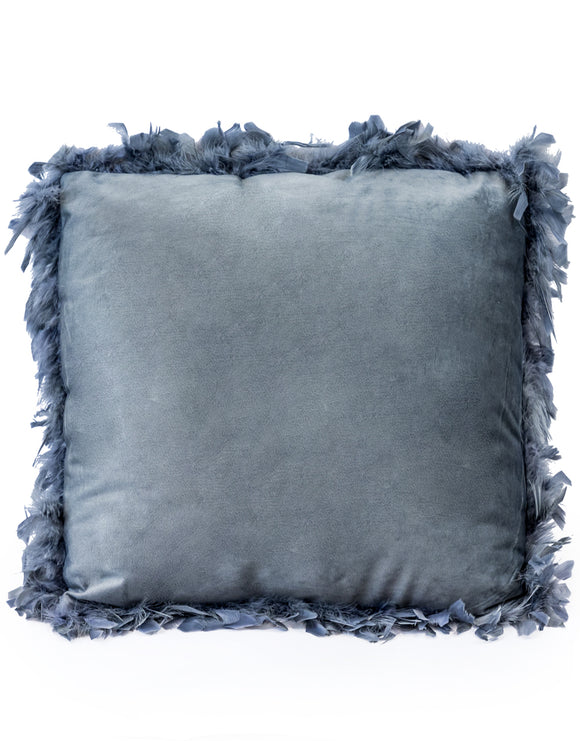 Silver Grey Luxe Square Velvet Cushion With Feather Edging 45 cm
