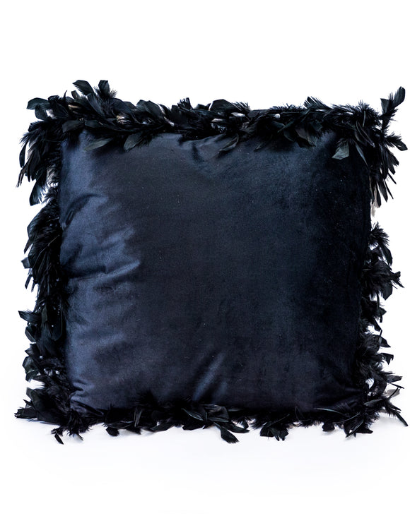 Black Luxe Square Velvet Cushion With Feather Edging 45 cm